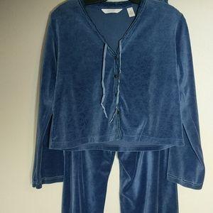 Victoria's Secret Country Blue Velvet Pajamas XS